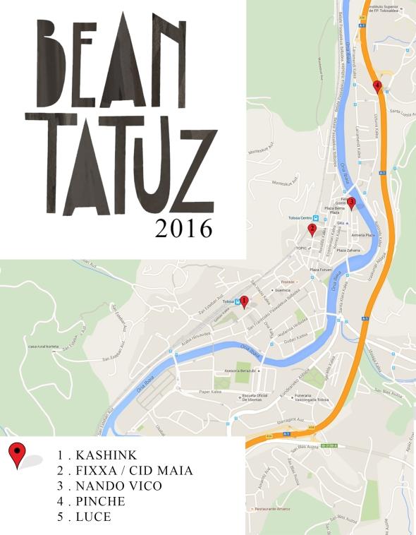 MAPA Beantatuz 2016 paredes-espacios-intervenciones